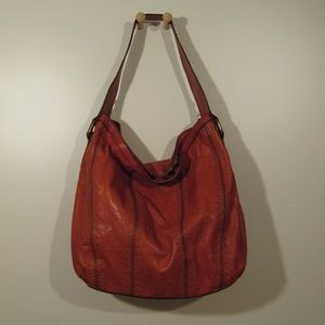 Fossil Burnt Orange Tooled Leather Hobo